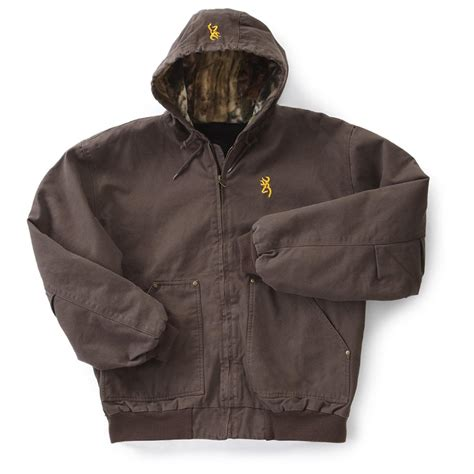 Jaket Canvas Brown Hoodie browning 174 hooded cotton canvas jacket with camo brown 593794 insulated jackets coats at