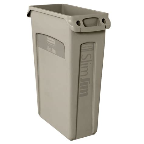 slim jim trash can rubbermaid commercial products slim jim 23 gal beige rectangular trash can with venting