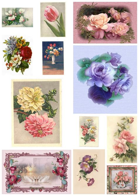 Prints For Decoupage - artbyjean paper crafts digital collage sheet of vintage