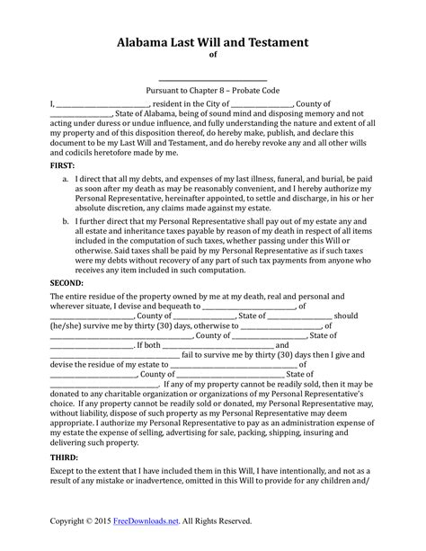 will template alabama last will and testament form pdf rtf