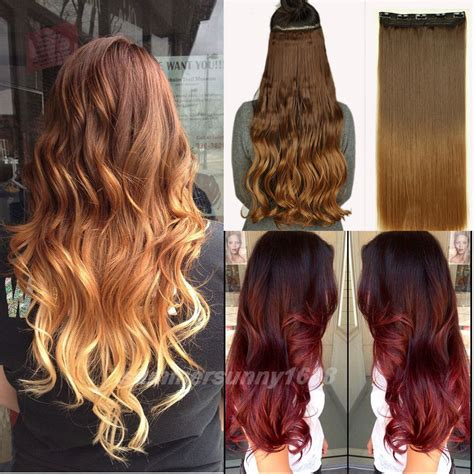 dying real hair extensions 23 25 inches 3 4 clip in hair extensions ombre