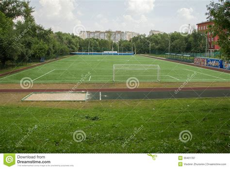 soccer field backyard backyard soccer field moscow russia stock photo image