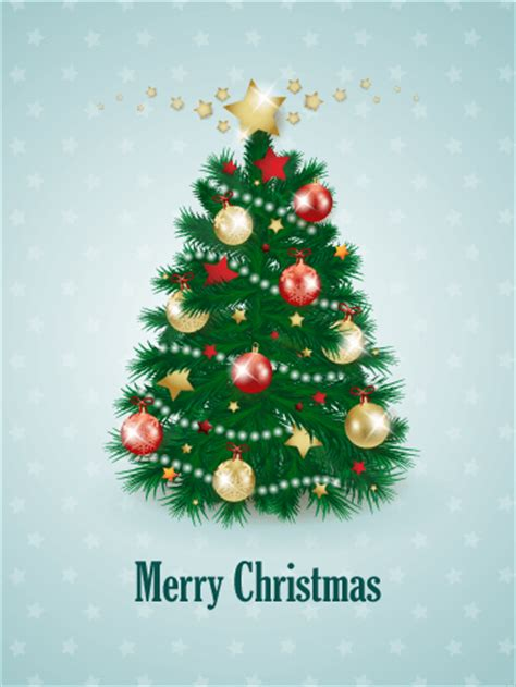 decorated christmas tree card birthday greeting cards