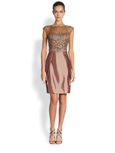 beaded illusion cocktail dress sue wong illusion yoke beaded cocktail dress in brown