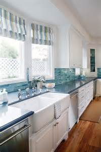 Blue Backsplash Kitchen by Blue Cabinets Giggles And Laundry