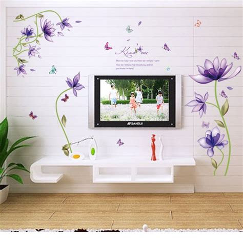 butterfly living room decor new purple lotus flowers butterfly wall stickers living room bedroom gift home decor 3d