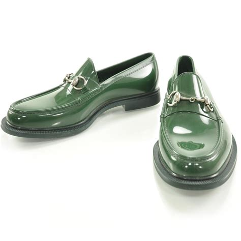 gucci rubber loafers gucci mens rubber horsebit moccasin loafers green 7 28026