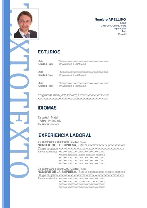Modelo Curriculum Vitae Rellenable Modelo De Curriculum Vitae Modelo De Cv