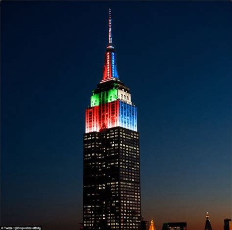 empire state building lights up red and green for