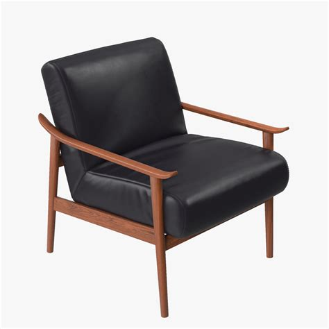 mid century leather show wood chair west elm west elm mid century leather 3d model