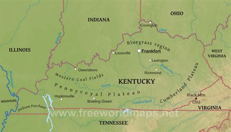 kentucky geography map physical map of kentucky
