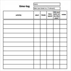 Time Recording Template by Time Log Template 10 Documents In Pdf Word