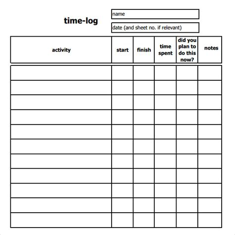 Log Sheet Template by 11 Time Log Templates Pdf Word Sle Templates