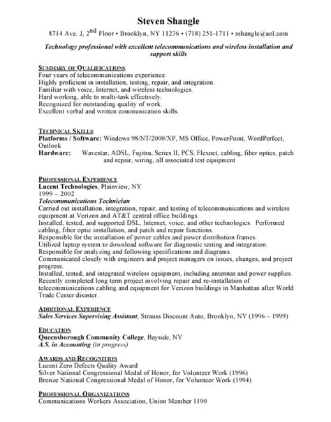 Telecom Technician Sle Resume by Telecommunication Technician Resume Free Excel Templates