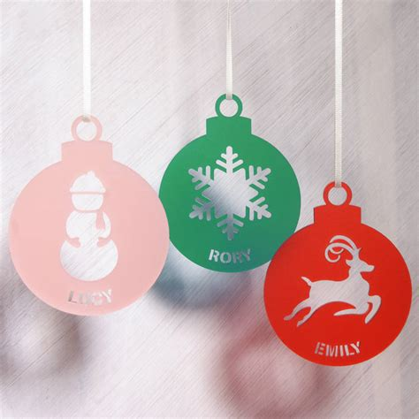 personalised frost acrylic christmas tree decoration by