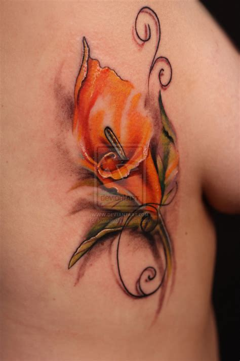 calla lily and rose tattoo calla by foxanic on deviantart