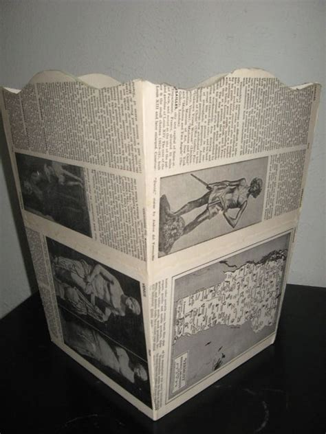 Decoupage Trash Can - upcycled decoupage trash can from vintage book pages