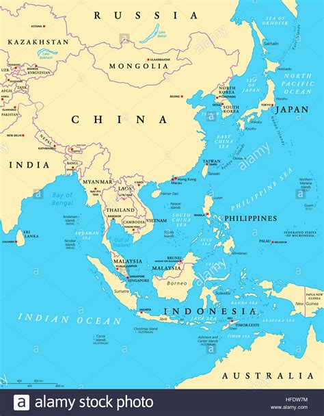 political map of asia with capitals east asia political map with capitals and national borders