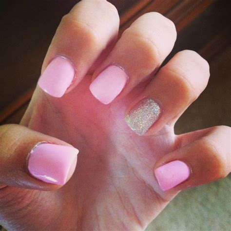Gel Nail by Gel Nails Light Pink With Silver