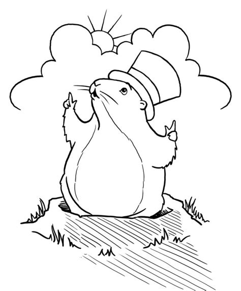 groundhog drawing az coloring pages
