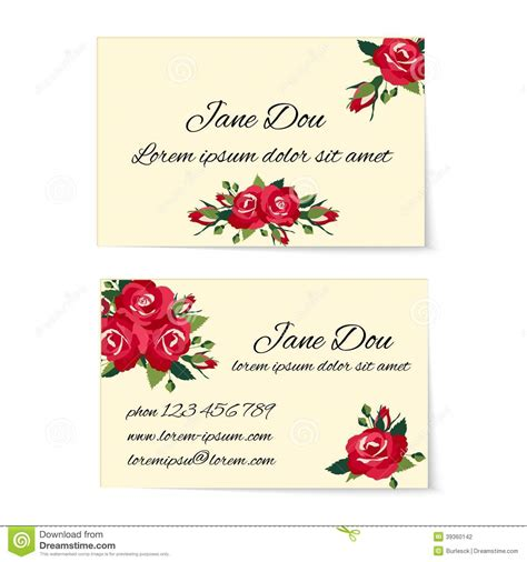 different business card templates two business card templates with roses stock vector