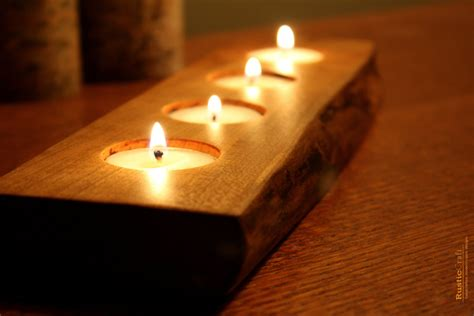 rustic wood tea light candle holder 4 tealight holder