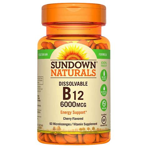 b12 supplement sundown naturals vitamin b12 6 000 mcg dietary supplement