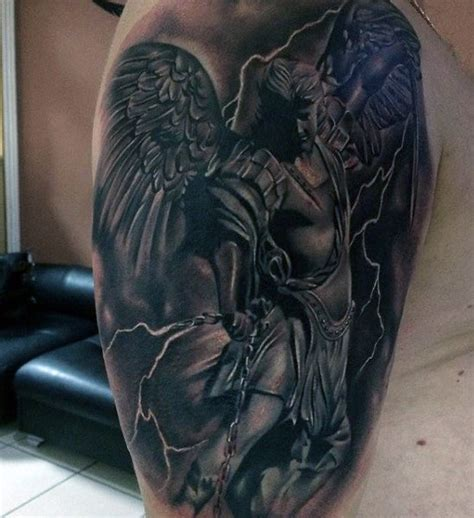 fighting angel tattoo designs 100 guardian tattoos for spiritual ink designs