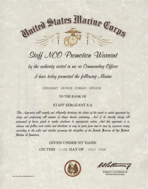 army promotion certificate template united states marine corps snco promotion warrant