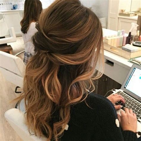 hairstyles for hair down to your shoulders best 20 half up half down wedding hair ideas on pinterest