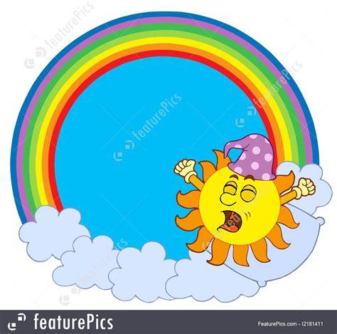 illustration  waking  sun  rainbow circle