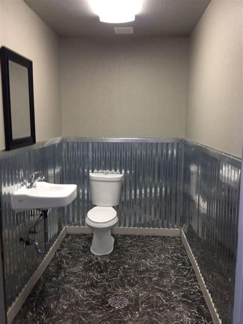 bathroom remodel  corrugated metal   wall