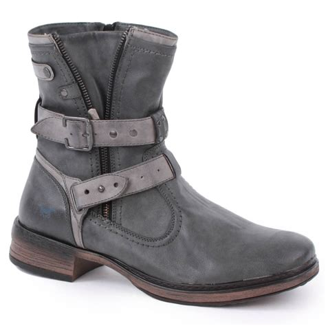 Mustang 4067 601 20 Mens Biker Boots In Grey