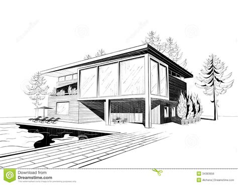 house sketch drawn house modern architectural design pencil and in