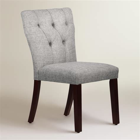 Linen Tufted Dining Chairs Linen Blend Tufted Gabie Dining Chair World Market
