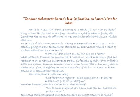 Romeo And Juliet Comparison Essay by Romeo And Juliet Compare And Contrast Essay