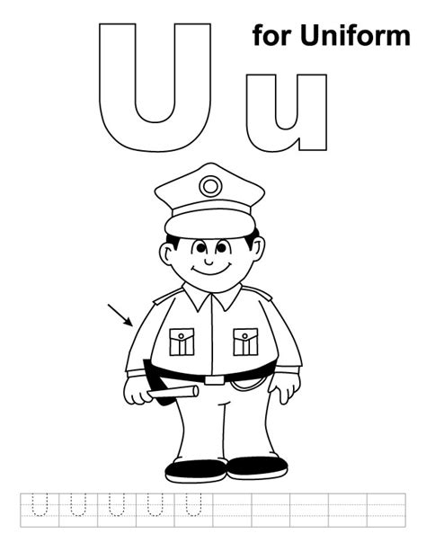 u for uniform coloring page with handwriting practice