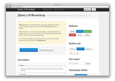 jquery ui layout with bootstrap 15 great twitter bootstrap resources web graphic