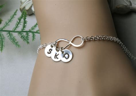infinity initial bracelet ithree initial charms family
