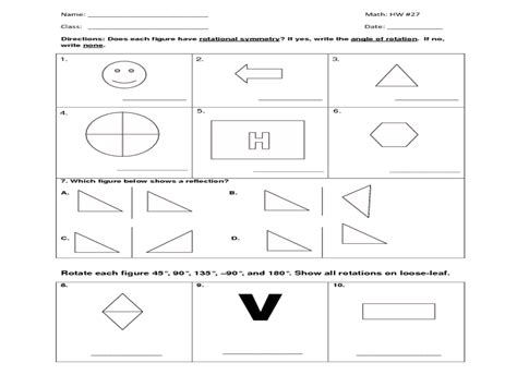 Reflection And Rotation Worksheet by Reflection Mathematics Worksheets Reflection Rotation