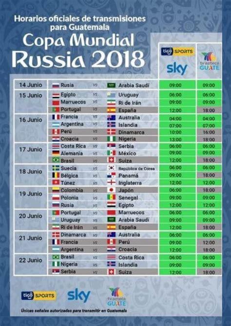 copa mundial 2018 horarios transdoc horarios oficiales de transmisiones