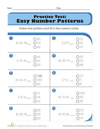 patterns math quiz practice test easy number patterns