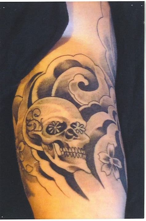 half sleeve skull tattoos trend mode of artist 2012 cherry blossom tat 3
