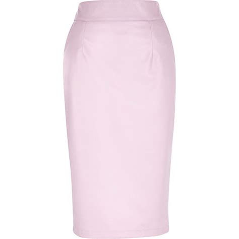 light pink leather look pencil skirt pencil