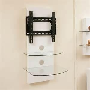 tv wall mount bracket shelves white gloss tilt vesa lcd