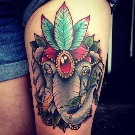 elephant tattoo purple elephant thigh tattoo tattoo ideas pinterest