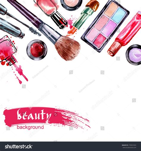 makeup pattern vector watercolor cosmetics pattern make artist objects stock