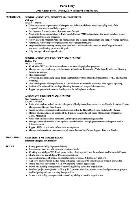 associate project management resume sles velvet