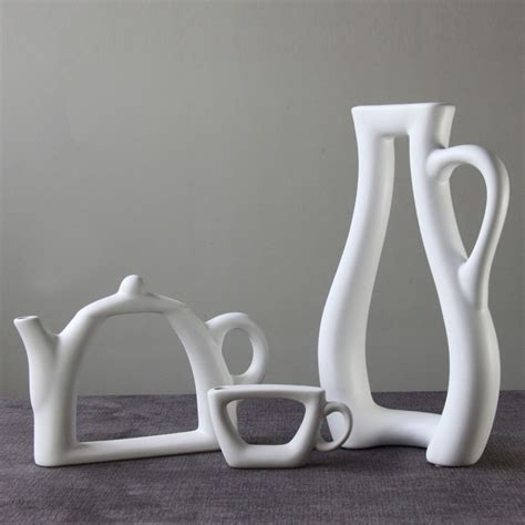elegant simple creative abstract ceramic white vase teapot