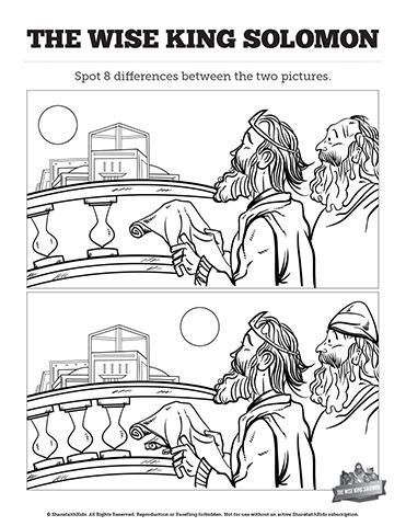 king solomon bible page to color 019 wisdom of solomon kids spot the difference these two